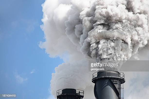 chimney smoke - air pollution - carbon dioxide stock photos and pictures