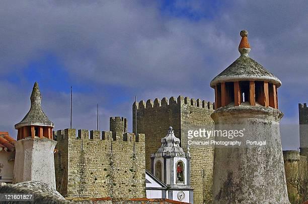 chimneys and towers castelo de óbidos - leiria district stock photos and pictures
