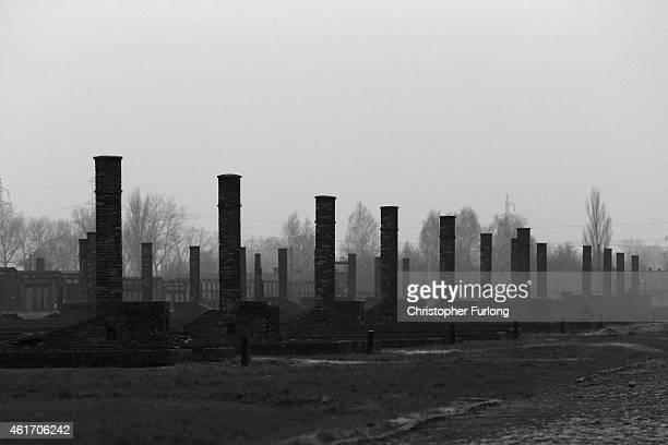 Chimneys are all that remain of detention blocks destroyed by the SS at the end of WWII at the Auschwitz II Birkenau extermination camp on November...
