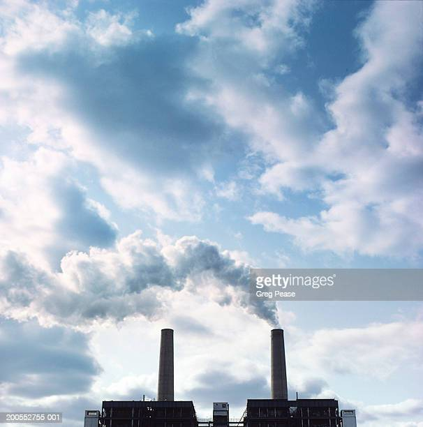 """chimneys emitting smoke stack from electric power plant - """"greg pease"""" stock pictures, royalty-free photos & images"""