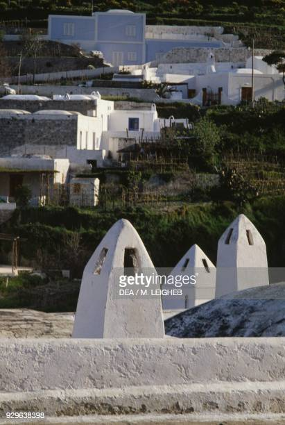Chimneys lime painted traditional houses Le Forna island of Ponza Pontine Islands Lazio Italy