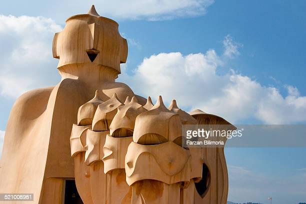 Chimneys on the roof at La Pedrera Barcelona