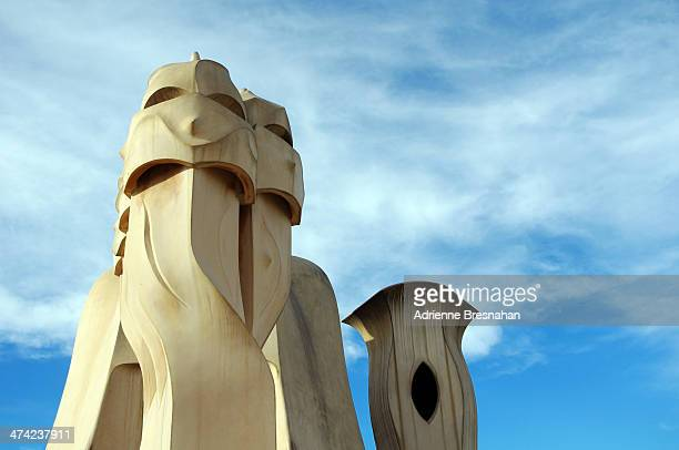 CONTENT] Chimneys on the roof terrace of Casa Mila in Barcelona Spain Designed by the Catalan architect Antonio Gaudi Casa Mila is also known as La...