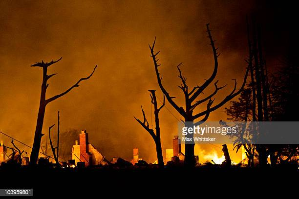 Chimneys remain during a massive fire in a residential neighborhood September 9 2010 in a San Bruno California A massive explosion rocked a...
