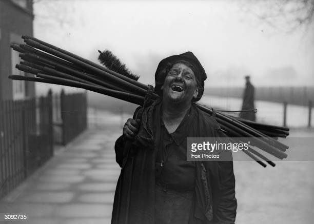 Chimneysweep Mrs Nelsong of Clapton at work