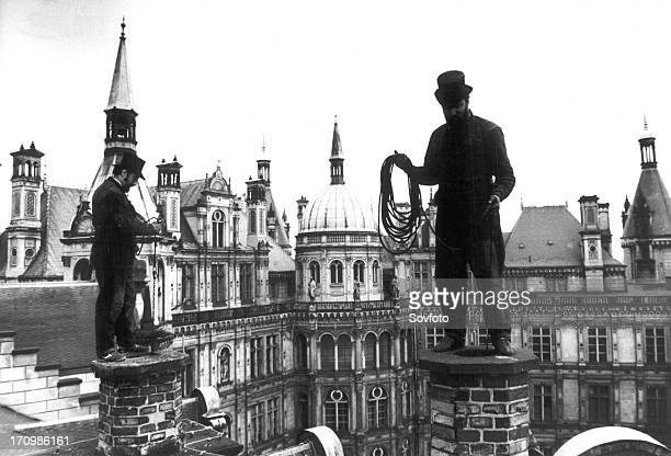 Chimneysweepers on the roof of schwerin palace 1983