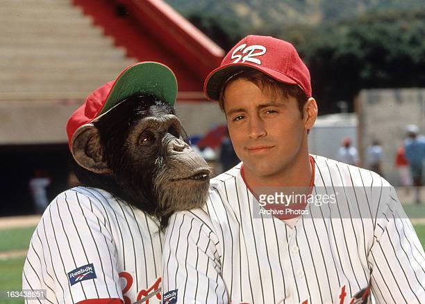 Chimpanzee and Matt LeBlanc in publicity portrait for the film 'Ed' 1996