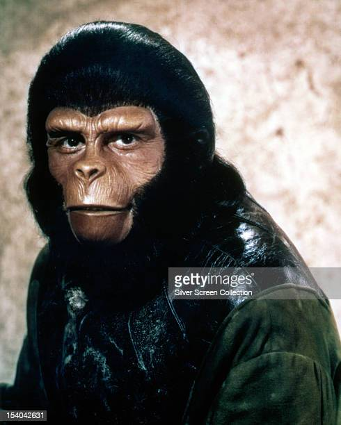 Chimpanzee archaeologist Dr Cornelius in 'Planet Of The Apes' directed by Franklin J Schaffner 1968 The role was played by Roddy McDowall