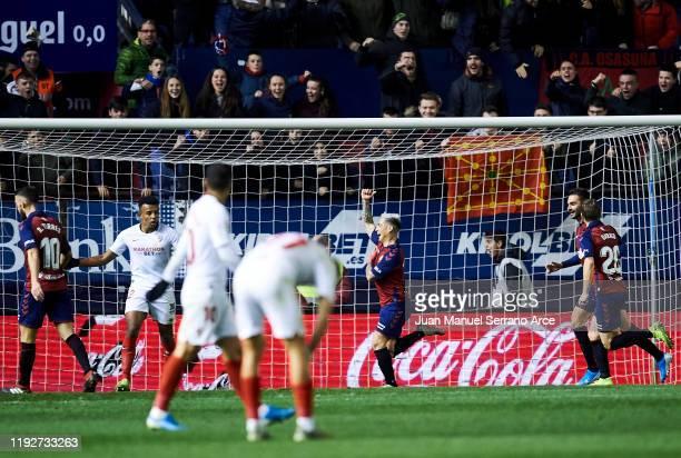 Chimy Avila of CA Osasuna celebrates after scoring goal during the Liga match between CA Osasuna and Sevilla FC at El Sadar Stadium on December 08...