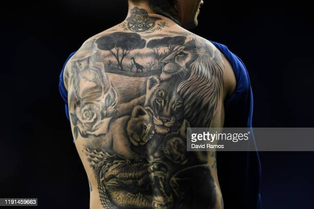 'Chimy' Avila of CA Osasuna tattooed back is picturedduring the Liga match between RCD Espanyol and CA Osasuna at RCDE Stadium on December 01 2019 in...