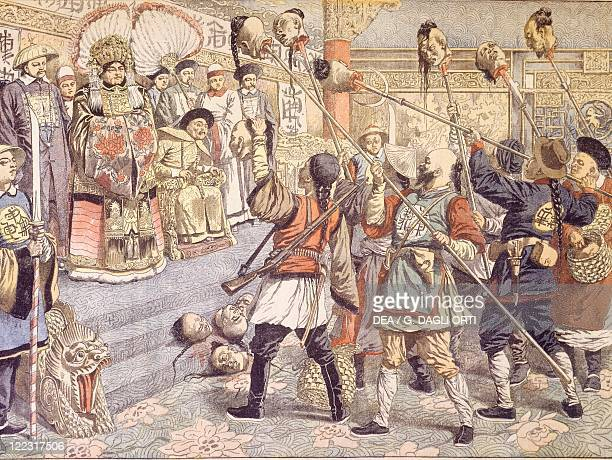 China 20th century The Emperor being shown by Empress Mother heads of Mandarins suspected of supporting the Russians March 1904
