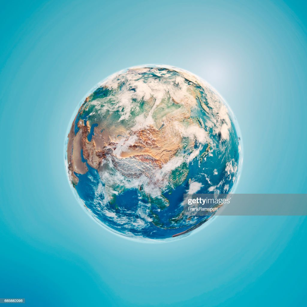 China 3D Render Planet Earth Clouds : Stock Photo