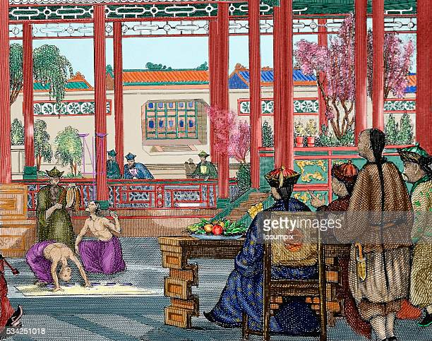 China Acrobats performing at the Imperial Court Nineteenthcentury colored engraving