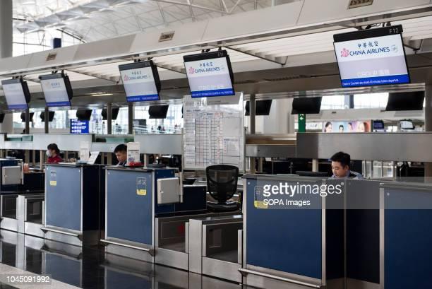 China Airlines checkin deskin Hong Kong's airport terminal 1