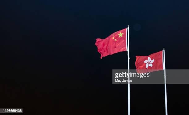 china and hong kong flags - hong kong may james 個照片及圖片檔