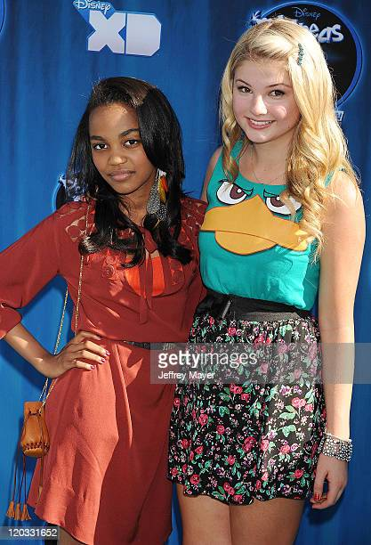 China Anne McClain and Stefanie Scott attend the premiere of 'Phineas And Ferb Across The 2nd Dimension' at the El Capitan Theatre on August 3 2011...