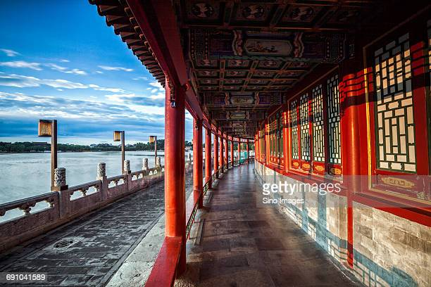 China, Beijing, Beihai Park, Chinese building in Beihai Park