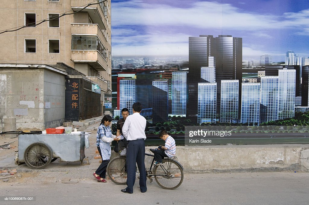 China, Beijing, Billboard for new development in Central Business District : Stockfoto