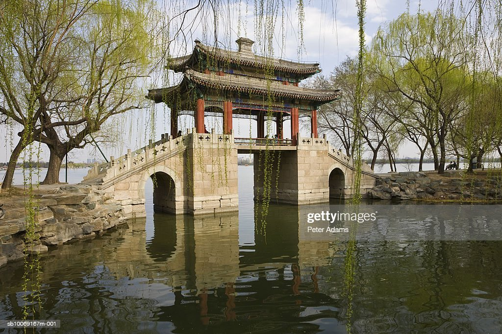 China, Beijing, Bridge of Pastoral Poems in summer Palace Gardens : Stockfoto