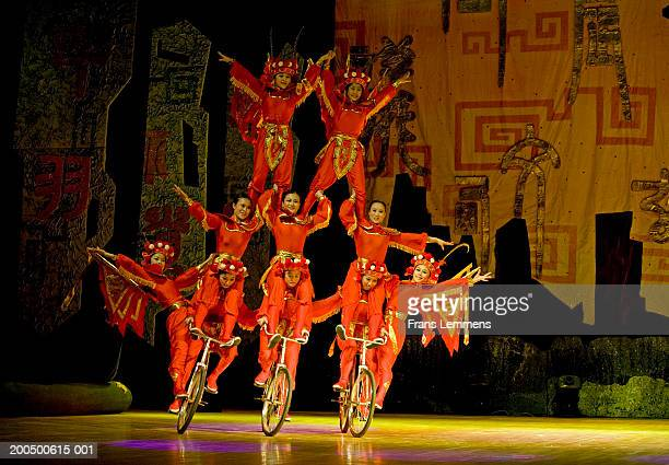 China, Beijing, Chaoyang Theatre, acrobats performing on bicycles