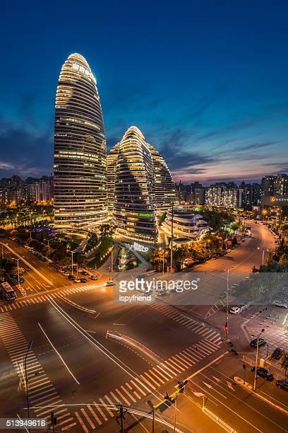 China Beijing city famous landmark, Wangjing SOHO night
