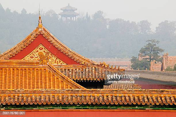China, Beijing, Forbidden City, rooftops and Coal Hill