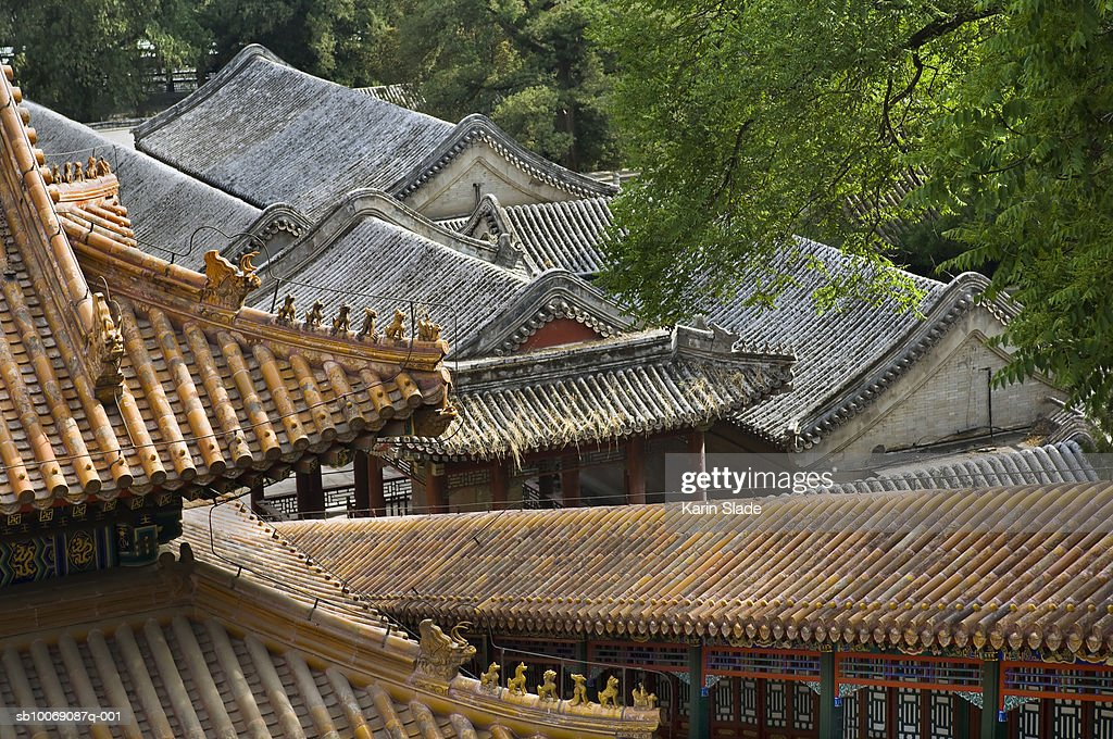 China, Beijing, Rooftops, high angle view : Stockfoto