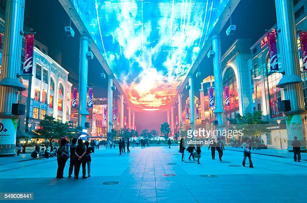 China Beijing Shopping mall The Place in Chaoyang district with Asia's biggest LED screen as ceiling