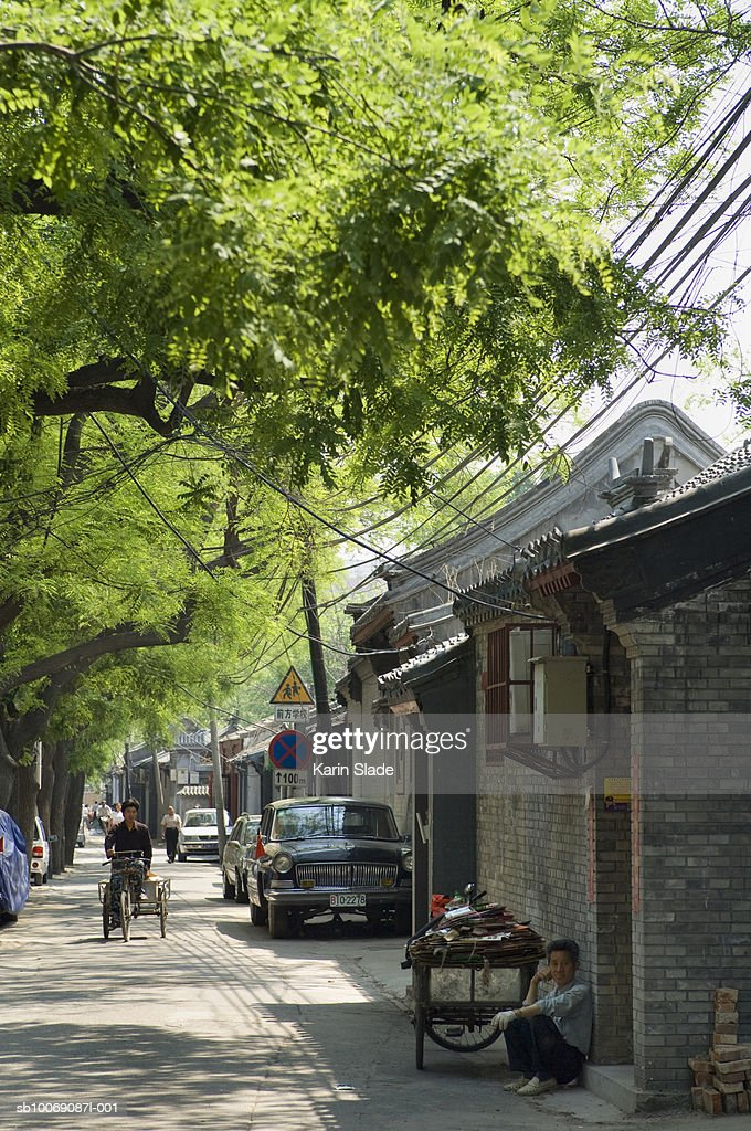 China, Beijing, Street in hutong : Stockfoto