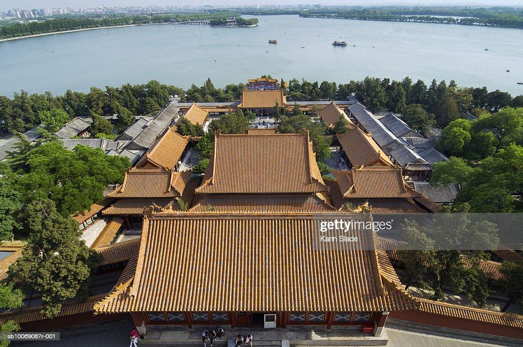 China, Beijing, Summer Palace and Kunming Lake, high angle view, : Stockfoto