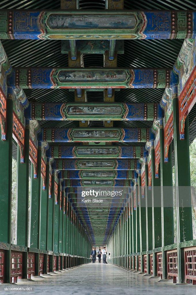 China, Beijing, Summer Palace decorative corridor : Stockfoto