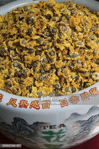 China, Beijing, tea shop, flower tea, elevated view, close-up