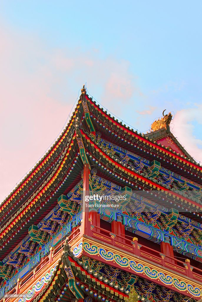 China, Beijing, Tiananmen Square, Zhengyang Men Tower, Ornate building, low angle view : Stockfoto