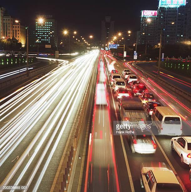 China, Beijing, traffic at night (long exposure)