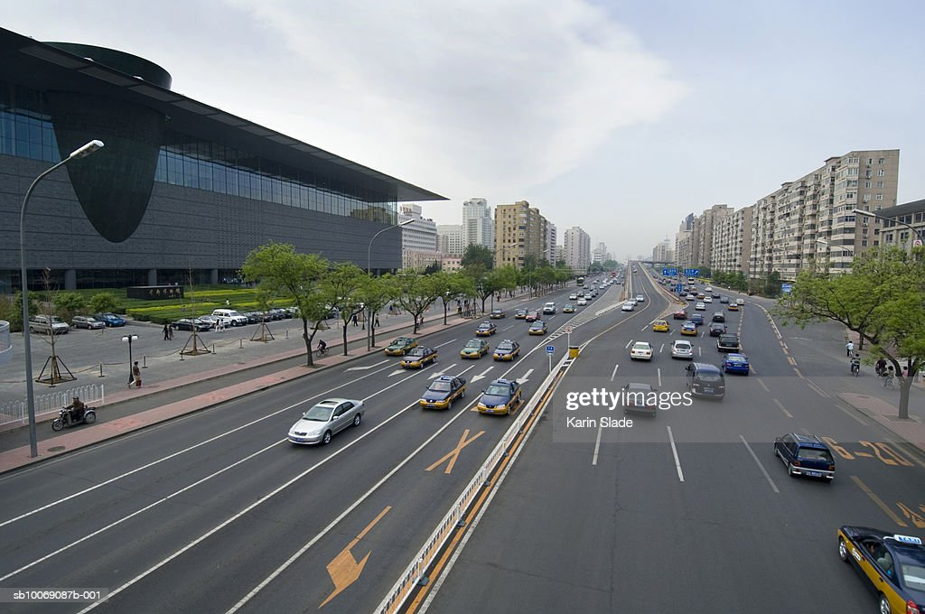 China, Beijing, Traffic, high angle view : Stockfoto