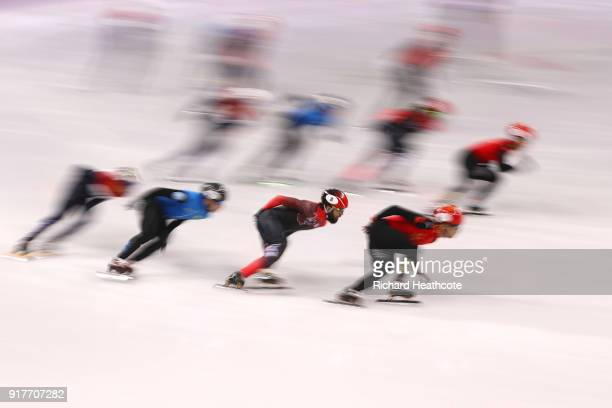 China Canada Kazakhstan and Netherlands compete during the Men's 5000m Relay Short Track Speed Skating heat 1 on day four of the PyeongChang 2018...