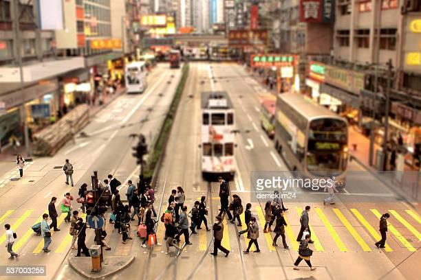 China, Causeway Bay, Hong Kong, People crossing pedestrian lane