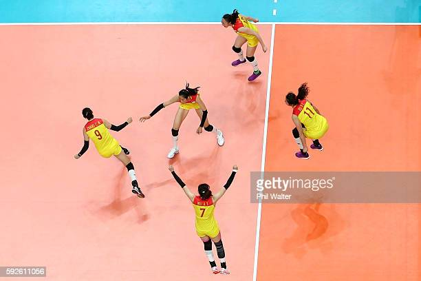 China celebrates after matchpoint during the Women's Gold Medal Match between Serbia and China on Day 15 of the Rio 2016 Olympic Games at the...
