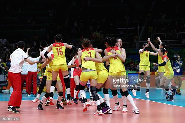 China celebrates after the Women's Gold Medal Match between Serbia and China on Day 15 of the Rio 2016 Olympic Games at the Maracanazinho on August...