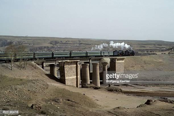 China, China Orient Express Going Over Bridge.