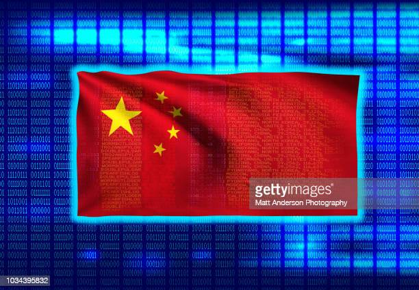 china chinese flag on binary code 8k rez - china politics stock pictures, royalty-free photos & images