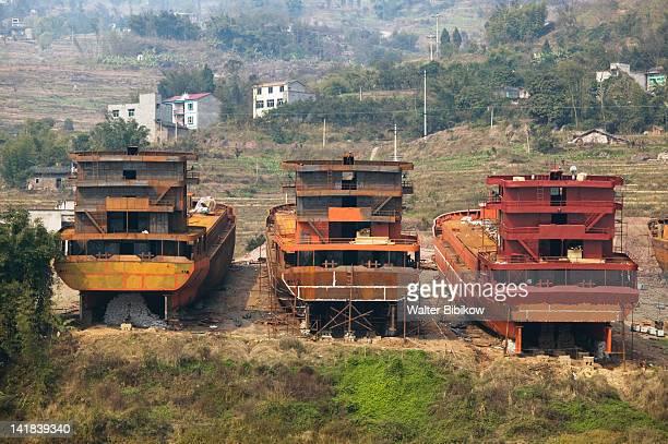 China, Chongqing Province, Yangzi River, City of Changshou, Yangzi River freighters under construction