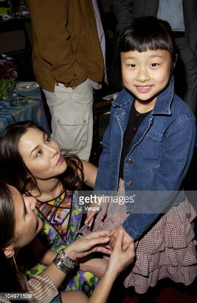 China Chow sister Asia Chow during Angela Missoni hosts Private Champagne Brunch and Preview of Special Evening Collection for Academy Awards Week at...