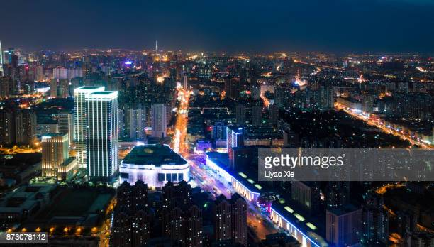 china city aerial view - liyao xie stock pictures, royalty-free photos & images