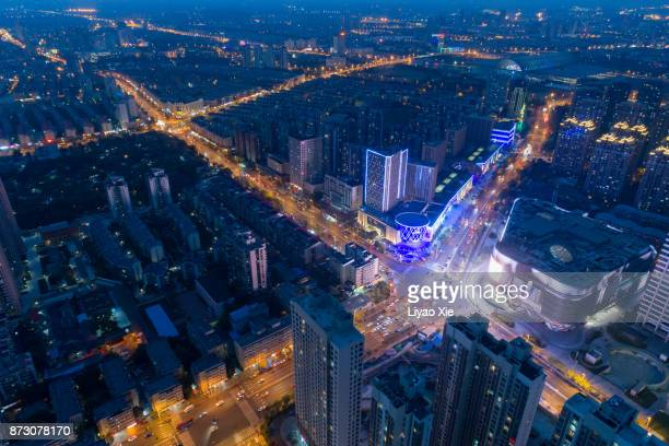 china city aerial view - liyao xie stock-fotos und bilder