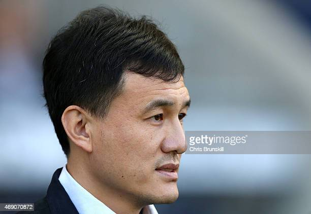 China coach Wei Hao looks on during the Women's Friendly International match between England and China at the Manchester City Academy Stadium on...