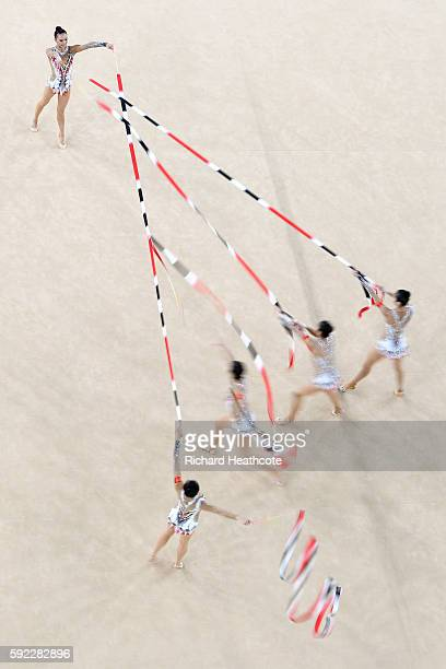 China compete in the Rhythmic Gymnastics Group All-Around Qualification on Day 15 of the Rio 2016 Olympic Games at the Rio Olympic Arena on August...
