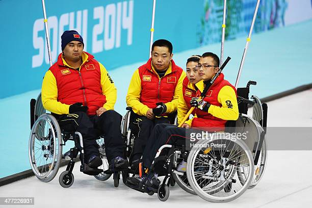 China compete in the wheelchair curling mixed round robin match between Russia and China at the Ice Cube Curling Center on March 8 2014 in Sochi...