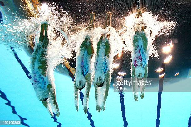 China competes in the Women's Teams Synchronised Swimming Free Routine final on Day 14 of the London 2012 Olympic Games at the Aquatics Centre on...