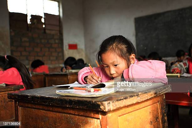 china countryside children in class room - henan province stock pictures, royalty-free photos & images